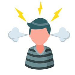 Stress. Bad emotion. Angry man. Steam from the ears and lightning in the head. Red face. Boy problems. Flat cartoon isolated on white background
