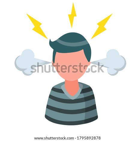 Stress. Bad emotion. Angry man. Steam from the ears and lightning in the head. Red face. Boy problems. Flat cartoon isolated on white background Stock foto ©