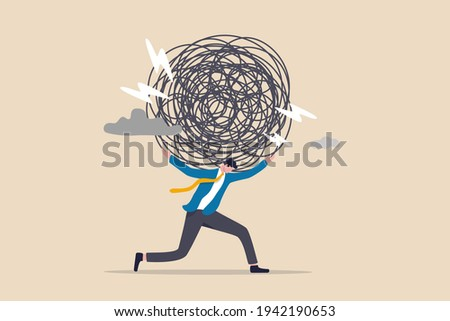 Stress burden, anxiety from work difficulty and overload, problem in economic crisis or pressure from too much responsibility concept, tried exhausted businessman carrying heavy messy line on his back Foto stock ©