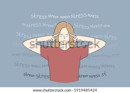 Stress, burnout, tiredness concept. Overworked exhausted young woman standing and touching temples with fingers feeing tired and burnt out vector illustration