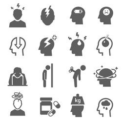 Stress, depression bold black silhouette icons set isolated on white. Nervous breakdown, heaviness, neurasthenia pictograms collection. Frustration. headache vector elements for infographic, web.