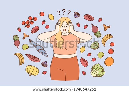 Stress, dieting, weight loss concept. Fat girl in fitness costume wanting to start diet and healthy eating but doubting about food variety and ingredients to buy vector illustration