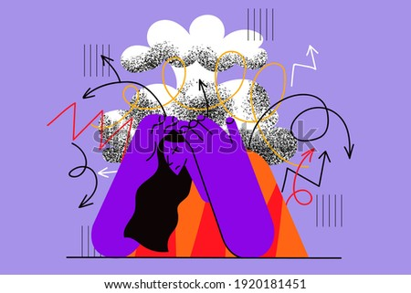 Stress, headache, migraine concept. Frustrated stressed woman suffering from headache holding hands on head having anxiety problems, dementia disease vector illustration