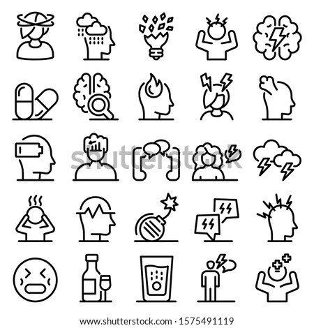 Stress icons set. Outline set of stress vector icons for web design isolated on white background