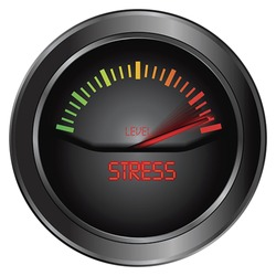 Stress level conceptual meter indicating maximum, vector Isolated on white