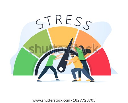 Stress level reduced with problem and pressure solving tiny persons concept. Tired from frustration employee in job vector illustration. Angry tension in business lifestyle. Emotional overload scene. Foto stock ©