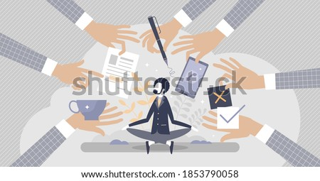 Stress resilience as business leader confidence and calm attitude tiny person concept. Patience and persistence in stressful situation with work overload vector illustration. Professional personality.