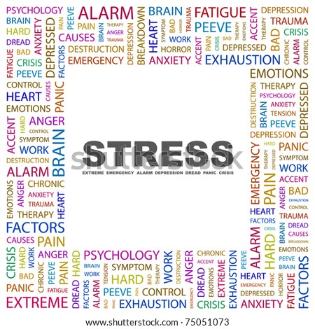 STRESS. Word collage on white background. Vector illustration. Illustration with different association terms.