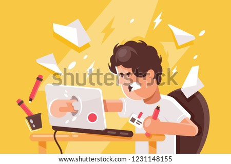 Stressed angry young man crashed laptop at work. Concept stundent, businessman, employee feels worried in workplace. Vector illustration.