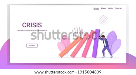 stressed businessman stopping domino effect crisis management chain reaction finance intervention conflict prevention concept horizontal full length copy space vector illustration Stockfoto ©
