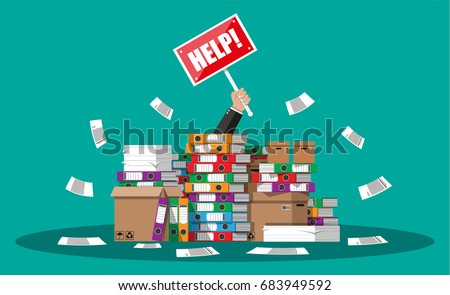 Stressed cartoon businessman in pile of office papers and documents with help sign. Stress at work. Overworked. File folders. Carton boxes. Bureaucracy, paperwork. Vector illustration in flat style. Stock photo ©