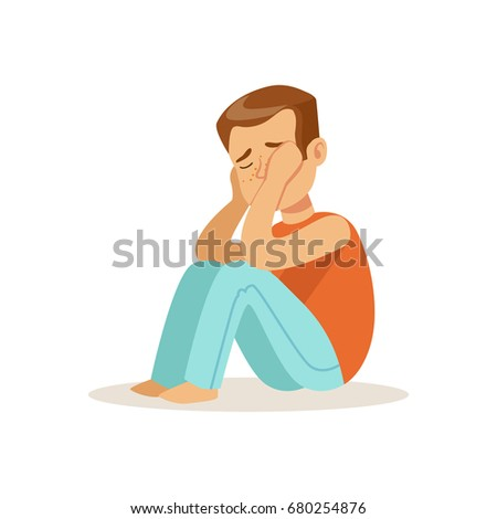 Stressed crying boy character sitting on tha floor vector Illustration