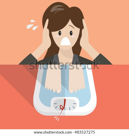 Stressed overweight woman on weight scale. Healthy concept