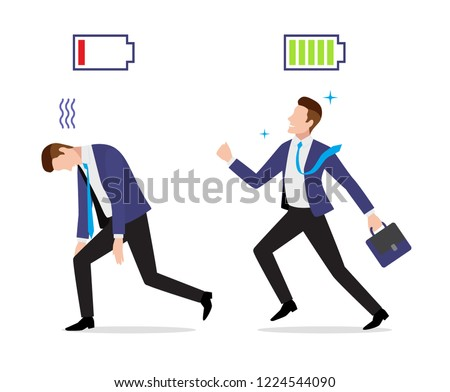 Stressed overworked and vigorous businessman set with charged and discharged battery icon and briefcase go to work, vector illustration in flat style Stockfoto ©