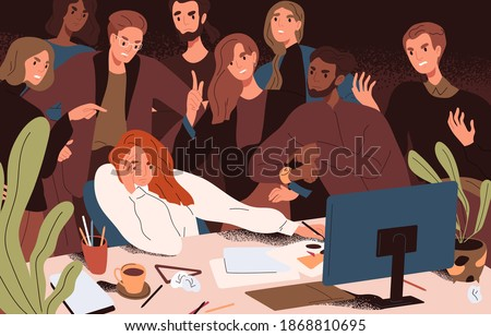 Stressed woman failed to meet deadline. Angry colleagues standing over creative worker pressuring and criticizing, complicating work with restrictions and conflicting tasks. Flat vector illustration
