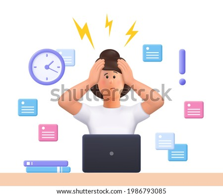 Stressed young woman Jane failed to meet deadline. Deadline pressure, stressful job.3d vector people character illustration.