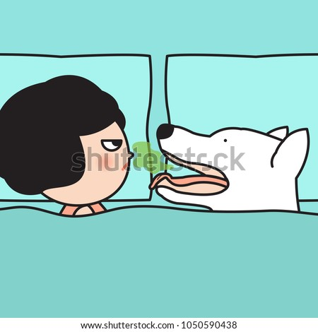 Stock Photo Stressful Woman Angry Her Dog Face Boyfriend Who Opening Smelly Mouth While Awakening. Concept Of Morning Bad Breath Card Character illustration