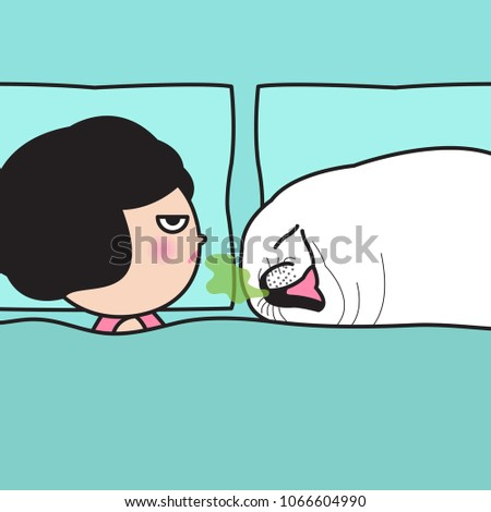 Stock Photo Stressful Woman Angry Her Seal Face Boyfriend Who Opening Smelly Mouth While Sleeping. Concept Of Morning Bad Breath Card Character illustration