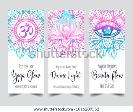 Yoga business card template download free vector art stock yoga card design colorful template for spiritual retreat or yoga studio stopboris Gallery