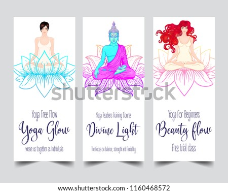 Yoga studio business card download vetores e grficos gratuitos yoga card flyer poster mat design colorful template reheart Images