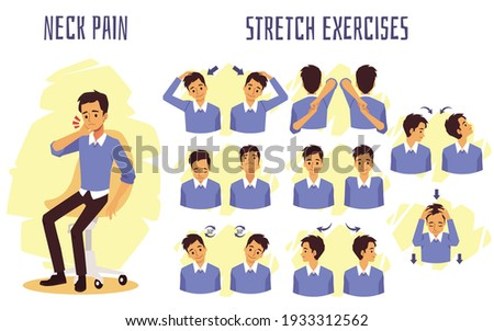 Stretch exercises to relieve and prevent neck pain, flat vector illustration isolated on white background. Infographic or banner with stretching for neck muscles. Stock photo ©
