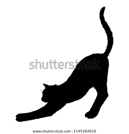 Stretching Cat SIlhouette. Vector Black Feline Logo.