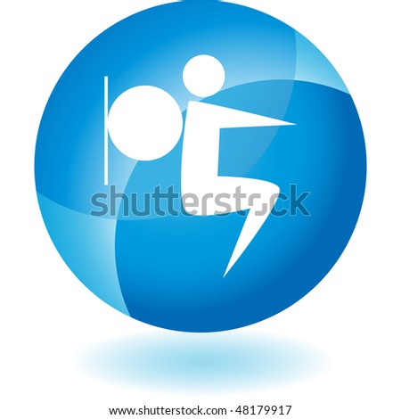 Stretching stick figure isolated web icon on a background.