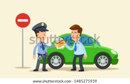 Strict police officer writing a fine to driver for driving under the sign - no entry. No entry road sign. Driver disappointed. Vector illustration, flat design, cartoon style. Isolated background.