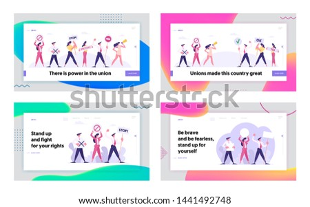 Strike or Demonstration Website Landing Page Set, Protesting People Against Election or Candidate Voting Holding Placards Banners Signs, Protest Web Page, Cartoon Flat Vector Illustration, Banner