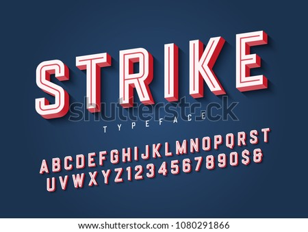Strike trendy inline sports display font design, alphabet, typeface, letters and numbers, typography. Swatch color control.