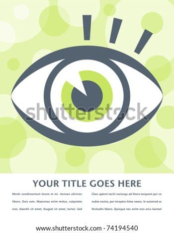 Striking eye design with space for text.