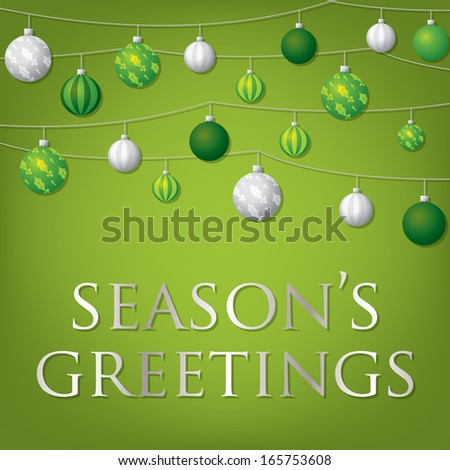 String of Christmas baubles card in vector format. - stock vector