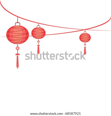 string of hanging lantern decorations on white