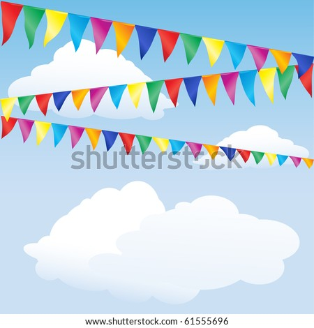 Strings of bunting against sky. Space for your text. EPS10 vector format - stock vector