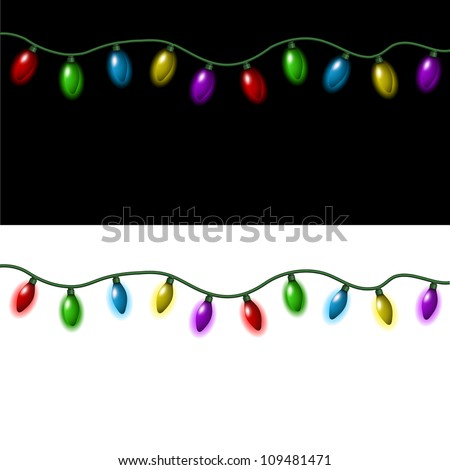 strings of christmas lights on