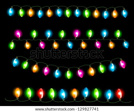 Strings of holiday lights on black background. Vector illustration