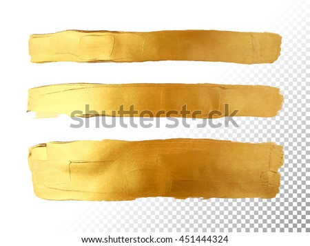 Strip gold texture. Vector golden hand painted smear stroke stain. Abstract art background. Foil glittering banner.