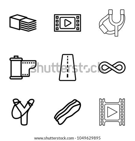 strip icons set of 9 editable