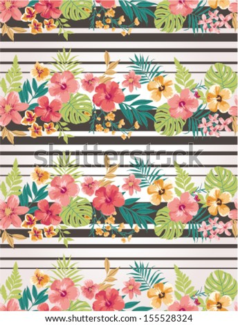 stripe mix tropical flower seamless vector pattern background