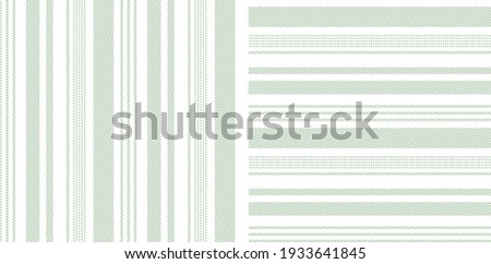 Stripe pattern set in green and white. Herringbone textured light asymmetric abstract backgrounds for spring summer dress, trousers, shirt, pyjamas, other modern everyday casual fashion textile print. Zdjęcia stock ©
