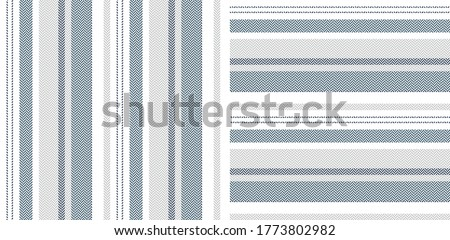 Stripe pattern set. Vertical and horizontal herringbone lines in blue, grey, white for dress or other modern fashion textile print. Textured design.