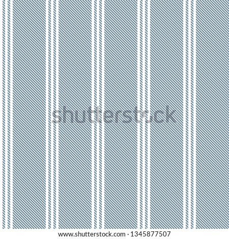 Stripe pattern. Vertical triple white stripes on blue background. Seamless illustration for fashion fabric design.
