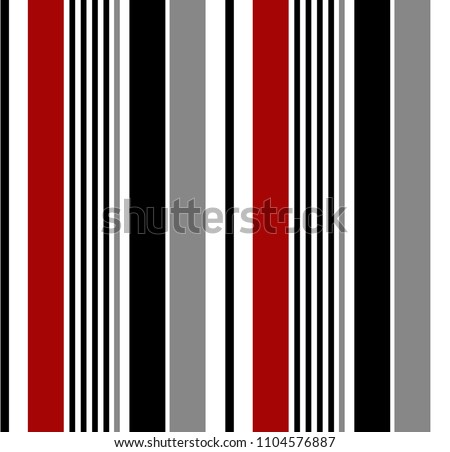 Stripe seamless pattern with black,red,white and grey vertical parallel colors.Vector pattern stripe abstract background