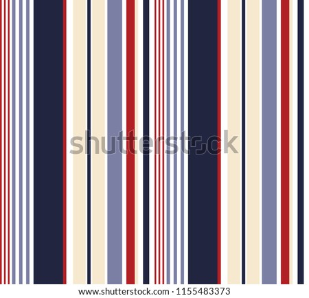 Stripe seamless pattern with blue,red and white colors vertical parallel stripes.Vector pattern stripe abstract background.