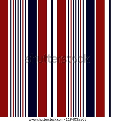 Stripe seamless pattern with navy blue,red and white colors vertical parallel stripes.Vector pattern stripe abstract background.
