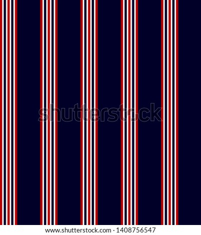 Stripe seamless pattern with Navy blue, Red and White colors vertical parallel stripes.Vector abstract background.
