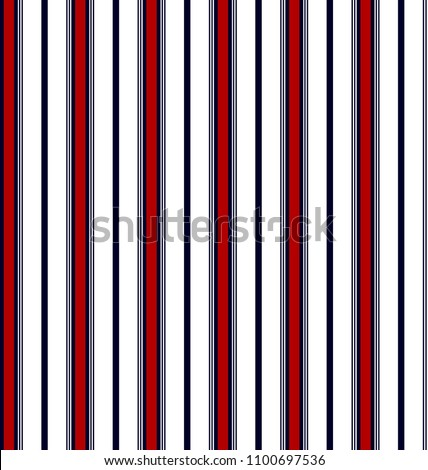 Stripe seamless pattern with red, navy blue and white vertical parallel stripe.Abstract background.
