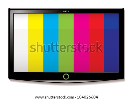 Stripe test screen on modern LCD television mounted on wall
