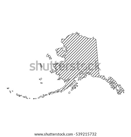 striped  alaska map isolated on