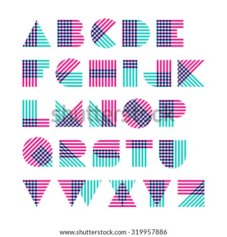 striped alphabet made of
